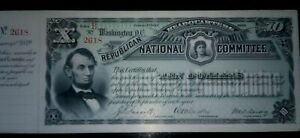 """UNIFACE PROOF OR UNISS GEM CU 1889 LG SIZE $10 RNC """"NOTE"""" (RNC RECIEPT!) LINCOLN"""