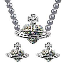 Silver Orb Heart Cross Earrings Pearl Grey Necklace Bridal Jewellery Set S981
