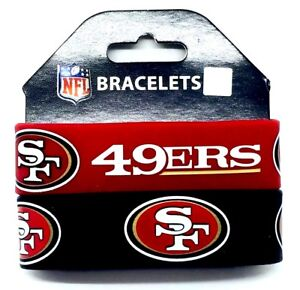 NFL San Francisco 49ers Rubber Silicon Bracelet Wristband 2-Pack