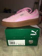 GS Junior Youth Puma Navigate White Kids Suede JR Shocking Pink 355110-74