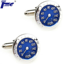 Men Blue Speedometer Design Shirt Cufflinks With Velvet Bag TZG Brand Cuff Links