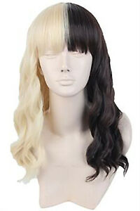 Women's Wigs Long Cosplay Half Blonde and Black Curly Mix Hair Wigs