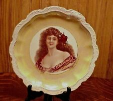 Empire China Steubenville Victorian Beautiful Woman Portrait Bust Charger 1800's