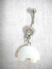 NEW NATIVE ZUNI SOLID OPALITE TOTEM BEAR 3D CHARM & BLACK CZ BELLY BUTTON RING