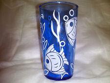 "Rare Cobalt Blue Sportsman Series / White Angel Fish Water Tumbler 8 oz. 4 3/4"""