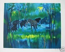 MOULY MARCEL   LITHOGRAPHIE ORIGINALE     Les éléphants sauvages au Sri lanka
