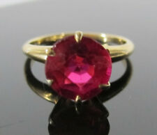 Estate! Vintage 14 KT Yellow Gold Pink Garnet Gemstone Ladies Ring Size 6 NR yqz