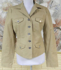 NWT ELEGANT CHAPS MODERN TRAVELER PALACE KHAKI SZ MEDIUM BLAZER COTTON STRETCH