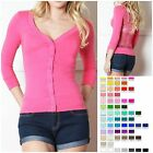 Junior Women 3/4 Elbow Sleeve Button Down ALL LACE BACK Cardigan Sweater CT3536