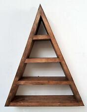 Wood Wooden Triangular Meditation Floating Moon Crystal Storage Shelf Shelving