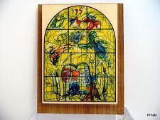 Vintage Marc Chagall Stained Glass-Wood Paper Pad Jerusalem Souvenir Judaica