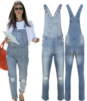 NEW WOMEN'S SEXY DENIM LIGHT BLUE STRETCH JEANS DUNGAREES RIPPED KNEE 8 TO 16