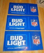 Bud Light NFL Football Tin Tacker Beer Sign Man Cave Bar Budweiser Lot of 3 Emb
