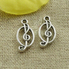 Free ship 240 pieces tibetan silver musical note charms 17x9mm L-4876
