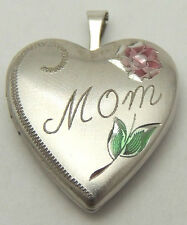 "Vintage ""MOM"" Heart Locket Pendant Etched Flower Cute Small 925 Sterling Silver"