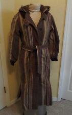 Vintage 70s Boho Hippie Wool Striped Blanket Maxi Coat w Hood~Small