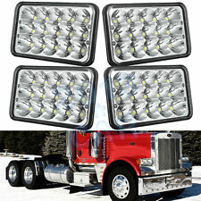4pcs LED Headlights for Peterbilt Rectangular Headlights 379 378 357 (Pack of 4)