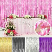 Metallic Foil Fringe Curtain Tinsel Photo Backdrop Party Birthday Decor 3*8FT