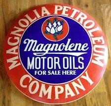 "MAGNOLIA PETROLEUM OIL ROUND DOME SHAPED METAL ADVERTISING SIGN - 24"" DIAMETER"