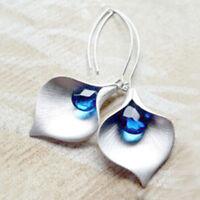 Leaf Ear Stud Pendientes de flor de la orquidea Hook Dangle Azul Cristal Murano