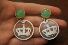 Hand Carved Italian Crown Cameo Earrings in Fine Gold over 925 w/Semi Precious