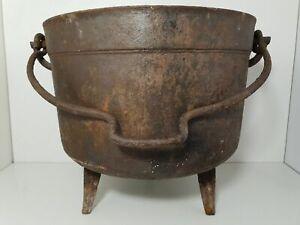Chaudron ancien Marmite ancienne métal fonte pour pot fleur suspendu