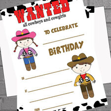 Childrens Birthday Invites Cowboys Cowgirls x 20 A5 +envs - Write your own
