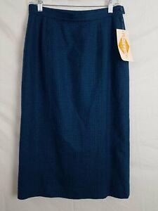 Vintage Pendleton Turquoise Houndstooth Wool Pencil Skirt Women's 10