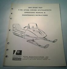 1969 RUPP OPERATION MANUAL Maintenane GT300 GTE370 Sno Sport Snowmobile ORIGINAL