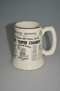 1967 GREEN BAY PACKERS SUPER BOWL I MILWAUKEE SENTINEL WORLD CHAMPS STEIN MUG