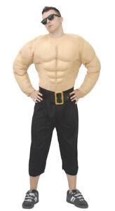 FAKE MUSCLE Chest Shirt Wrestler Fancy Dress Superhero Bodybuilder Costume