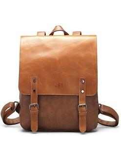 LXY Vegan Leather Backpack Vintage Laptop Bookbag for Women Men, Brown Faux