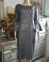 ALEX EVENINGS Womens Silver Sequined Sheath Cocktail Dress, Size 8 NWT