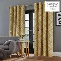Catherine Lansfield Aztec Fully Lined Eyelet Geo Curtains Available in 3 Colours