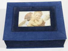 DECORATIVE STORAGE BOX HINGE LID WITH PHOTO BLUE FELT ORGANIZATION RECTANGLE