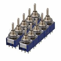 10x Blue 3 Way Toggle Switch Double Pole Double Throw ON-OFF-ON Guitar Amplifier