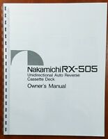 Nakamichi RX-505 Cassette Deck Owners Manual
