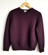 COS LADIES RIBBED BURGUNDY 100% WOOL JUMPER SIZE M
