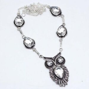 """Crystal Topaz 925 Sterling Silver Plated Vintage Owl Necklace 18"""" Jewelry GW"""