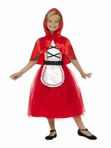 Girls Little Red Riding Hood Costume Halloween Red Fancy Dress Hooded S M L NEW