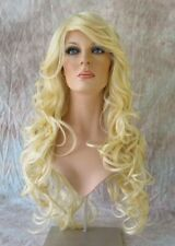 Light Blonde Long Wig HEAT OK Curls Skin Part Bangs HS Soprano 613