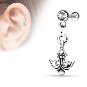 Anchor With Clear Gem Dangle Screw Ball Cartilage Helix Tragus Bar Earring