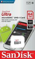 SanDisk® Ultra® 64GB microSDXC™ Memory Card UHS-I C10 Speed up to 100MB/s New