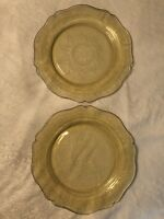 "2 Patrician Spoke Federal Depression Light Amber Glass Etched Dinner Plates 11"""