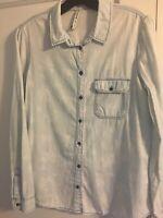 ZARA STRADIVARIUS Button down Shirt Blue Denim Chambray W/ White Floral Sz Large