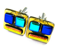 DICHROIC Fused GLASS Cuff Links Amber Blue Green Men's Formal Wear Patchwork