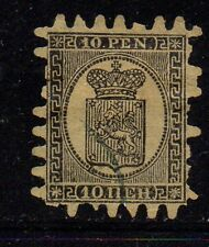 Finland Sc 8 1870 10p  black Coat of Arms stamp rouletted used Free Shipping