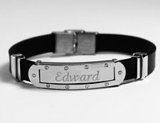 EDWARD - Mens Bracelet With Name - Silver Tone With Frame - Birthday Custom