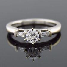 Diamond Solitaire Engagement Ring - 14k White Gold - Diamond Wedding Ring Band