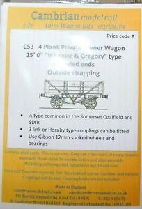 "CAMBRIAN C53 10ton 4-plank Fixed End Wagon (15' ""Wheeler & Gregory"") OO GAUGE"